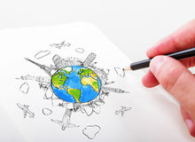 Hand drawning travel Stock Images