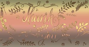 Hand drawnThank you card calligraphy design. Vibrant glittering design. Bokeh falling for Cards, Artwork, greetings. Thank you card calligraphy design. Vibrant stock photography