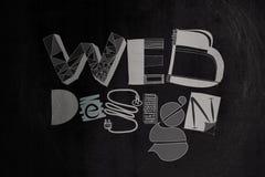 Hand drawnweb ontwerp op donkere textuurachtergrond Royalty-vrije Stock Foto