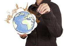 Hand draws airplane travel around the world Royalty Free Stock Photo