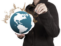 Hand draws airplane travel around the world Royalty Free Stock Photo