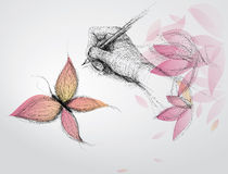 Hand draws butterfly. Surreal  sketch of nature Stock Photos