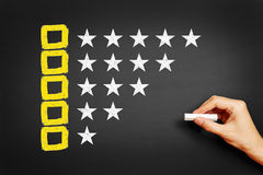 Hand draws concept for feedback with checkboxes and stars. On blackboard Stock Photography