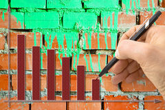 Hand draws a decreasing graph against a brick wall background Stock Photo