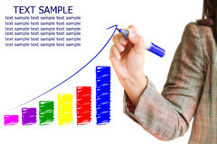 Hand draws a graph. Isolated on a white background Royalty Free Illustration