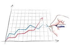 Hand draws a graph Royalty Free Stock Image