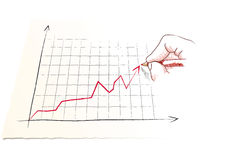 Hand draws a graph Stock Photos
