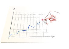 Hand draws a graph Royalty Free Stock Photography