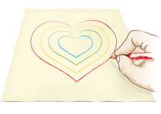 Hand draws heart Royalty Free Stock Photo