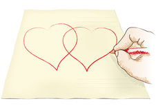 Hand draws heart Stock Photo