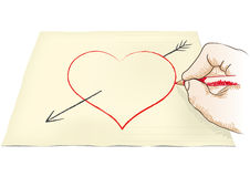 Hand draws heart Royalty Free Stock Photos
