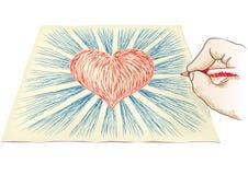 Hand draws heart Stock Image