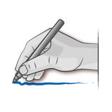 Hand draws with a pen. Hand draws and signs a contract vector illustration