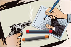 Hand draws picture. Weapon in hand. Painted gun shoots. Royalty Free Stock Photos