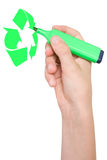Hand draws Recycling symbol. Royalty Free Stock Photos