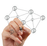 Hand draws  social network structure Royalty Free Stock Photo