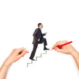 Hand draws stairs with walking businessman on white Royalty Free Stock Photography