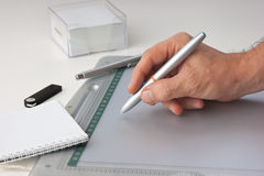 Hand draws on the tablet Stock Photo