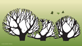 Hand draws trees and environment 2. Tree and environment and fertilizing issues Stock Image