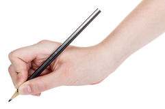 Hand draws by wood black pencil close up Royalty Free Stock Photography