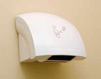Hand drier. In public WC Royalty Free Stock Photography