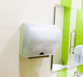 Hand drier in public Stock Photo