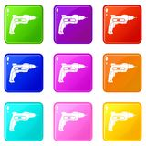 Hand drill icons 9 set Royalty Free Stock Photography