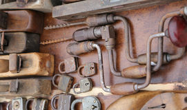 Hand drill old rusty padlocks and planers in the stand of flea m. Hand drill old rusty padlocks and planers in the workshop of flea market Stock Photo