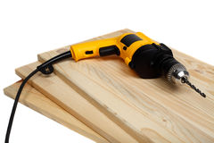 Hand drill on wood Royalty Free Stock Photos