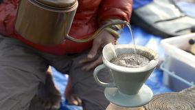 Hand drip coffee stock footage