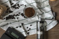 Hand Drip Coffee Tool On Wooden Background Stock Photography