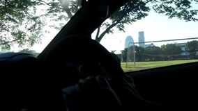 Hand drive steering with sunshine. Driving through the Park stock video