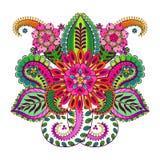 Hand drog abstrakta färgblommor och paisley beståndsdelar i indier Royaltyfri Foto