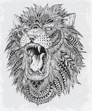 Hand drog abstrakta Lion Vector Illustration royaltyfri illustrationer