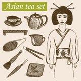 Hand drog asiatiska tekulturobjekt Geisha, tekanna och annan hjälpmedel och utrustning av teceremoni Royaltyfri Fotografi