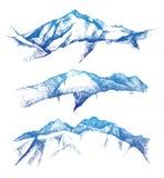 Hand drog berg vektor illustrationer