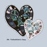 Hand drog blåa och rosa hjärtor Stock Illustrationer