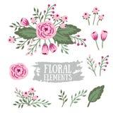 Hand drog blom- beståndsdelar för tappning inställda blommor Royaltyfri Fotografi