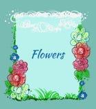 Hand drog blommor, himmel, gräs kortdaghälsningen irises vektorn för moder s Arkivfoton