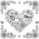 Hand drog blommor och fåglar för anti-spänningsfärgläggningsidan Vektorhjärta som göras av blommor och fåglar royaltyfri illustrationer