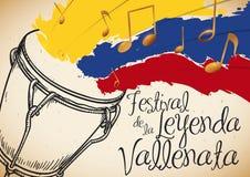 Hand drog Caja och Tricolor penseldrag för den Vallenato legendfestivalen, vektorillustration stock illustrationer
