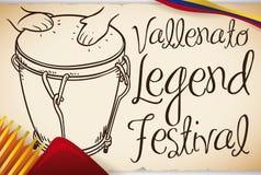 Hand drog Caja Vallenata med dragspelet för den Vallenato legendfestivalen, vektorillustration royaltyfri illustrationer
