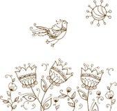 Hand drog dekorativa fågel och blommor Arkivfoto