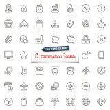 Hand-drog E-kommers symboler vektor illustrationer