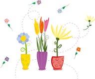 Hand-drog färgrika vårblommor för vektor i vaser som isoleras på vit bakgrund, stock illustrationer