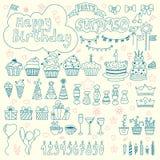 Hand drog födelsedagbeståndsdelar Bakgrund för födelsedagparti Arkivbild