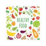 Hand-drog frukter och grönsaker i organisk stil som isoleras på vit bakgrund royaltyfri illustrationer