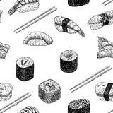 Hand drog grafiska sushi och rullar royaltyfri illustrationer