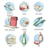 Hand-drog hygienbeståndsdelar vektor illustrationer