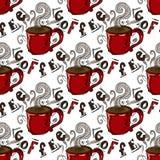 hand-drog illustrationer En kupa av kaffe seamless modell Arkivbilder